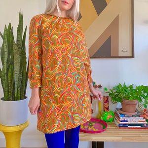 Mod 60s psychedelic babydoll mini dress S/M